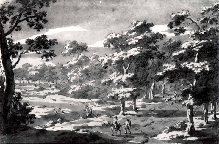 Forest Clearing with Figures  Jan Frans van Bloemen (Flemish, Antwerp 1662–1749 Rome) before 1700: Pen and brown ink, brown wash on paper backed