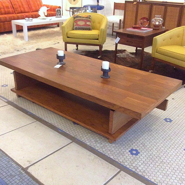 Danish Modern Mid Century Brutalist Coffee Table By Lane. Large Scale  Modernist Heavy Wooden Coffee Table W Under Shelf.
