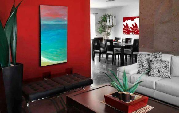 """Perfect fit in this home. My painting    """" Sea Shore """"   Acqua, arancione, azzurro, blu, cielo, mare, Natura, nuvole, oceano, orizzonte, Paesaggio marittimo, Rosa, sole, Spiaggia, Tela, tramonto, verde, viola."""