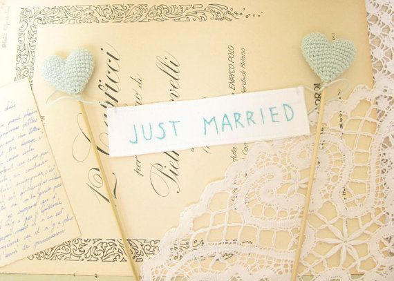 Just Married Mint Wedding Cake Topper Something Blue by cherrytime, $38.00