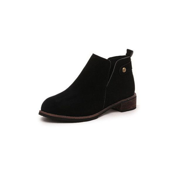 British Style Slip On Thick Heel  Short Ankle Boots (€17) ❤ liked on Polyvore featuring shoes, boots, ankle booties, black, slip on boots, short black boots, ankle boots, short ankle boots and black chunky heel boots