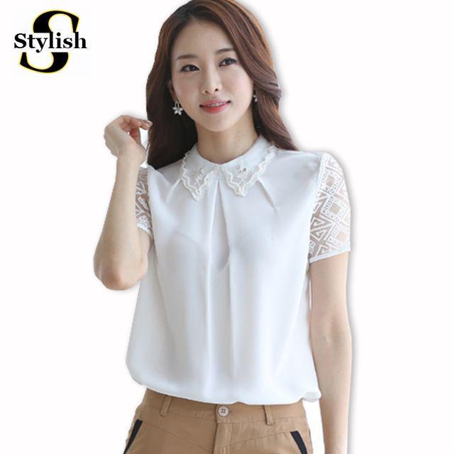 Verano Estilo Coreano Blanco Blusa de La Gasa Mujeres Tops Moda 2015 Organza Camisa de Manga Corta Elegante Abalorios Sueltos de Ropa de Mujer
