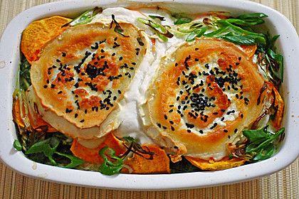 Spinat-Süßkartoffel-Auflauf mit Ziegenkäse
