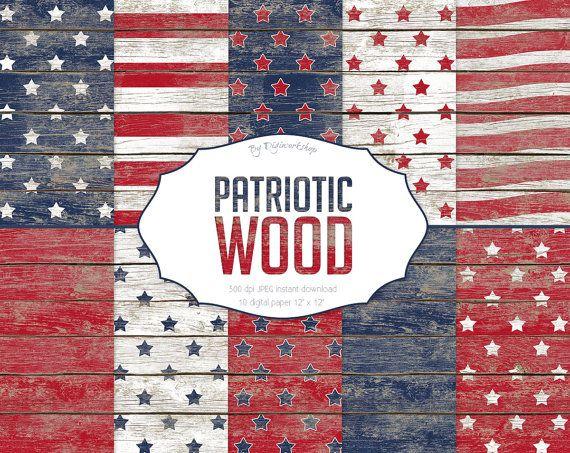"#Wood Digital Paper: Wood Textures or Wood Digital Backgrounds - ""Patriotic…"