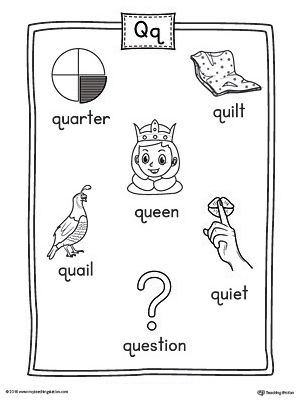 Letter Q Word List with Illustrations Printable Poster | Alphabet