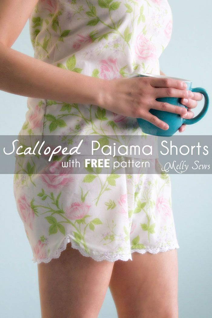 Sew Pajama Shorts with a Sweet Scallop detail - Free pattern and DIY tutorial on Melly Sews