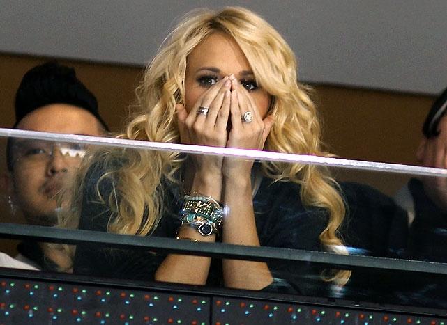 Carrie Underwood at a Nashville Predators game.  Hair goals!