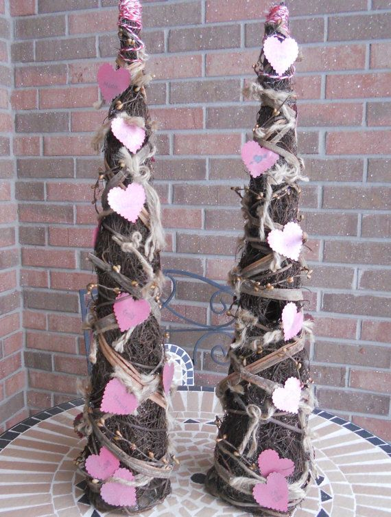 valentines decor vine trees set of two rustic valentines gifts pip berries by pebble creek designs - Primitive Valentine Decor