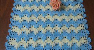 Mavi beyaz kaz ayağı örgü lif