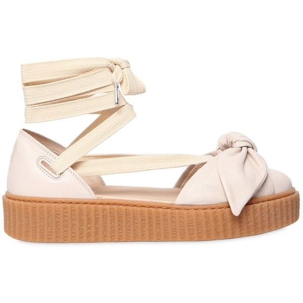 Fenty X Puma Women 30mm Bow Creeper Lace Up Sandal Sneakers ($195) ❤ liked on Polyvore featuring shoes, sneakers, off white, creeper platform shoes, platform trainers, creeper shoes, platform shoes and rubber sneakers