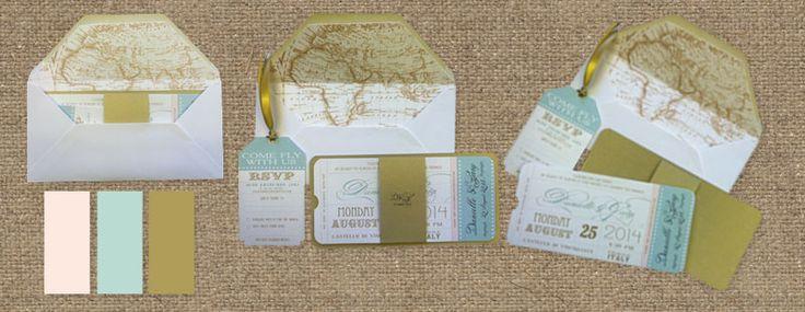 Amoretti Stationery: Mint, Gold and Powder Pink