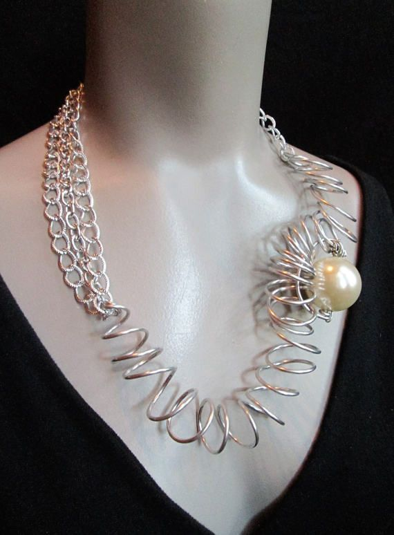 Silver Statement Necklace Wire Art Wearable Art Artisan Wire Wrap Abstract Big Pearl Club Wear One of Kind Modern Geometric Haute Couture