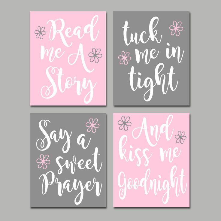 PINK GRAY Nursery Wall Art CANVAS or Print Nursery Quote