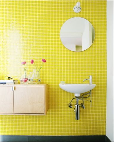 Second yellow tile bathroom I've seen in the last couple of months & I love it. Photo by Justin Bernhaut bathroom