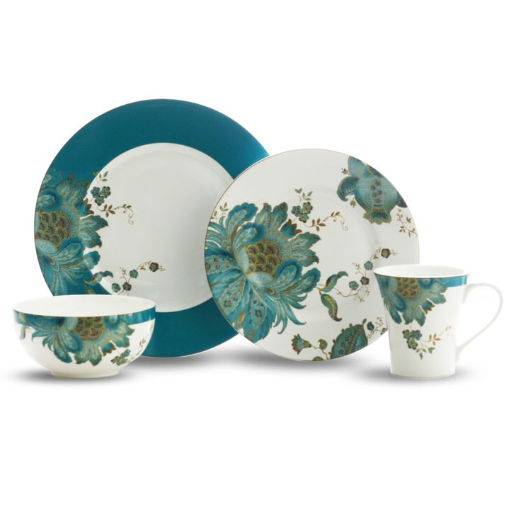 222 Fifth Eliza Teal 16-piece Dinnerware Set | Overstock.com Shopping - Great Deals on 222 Fifth Casual Dinnerware