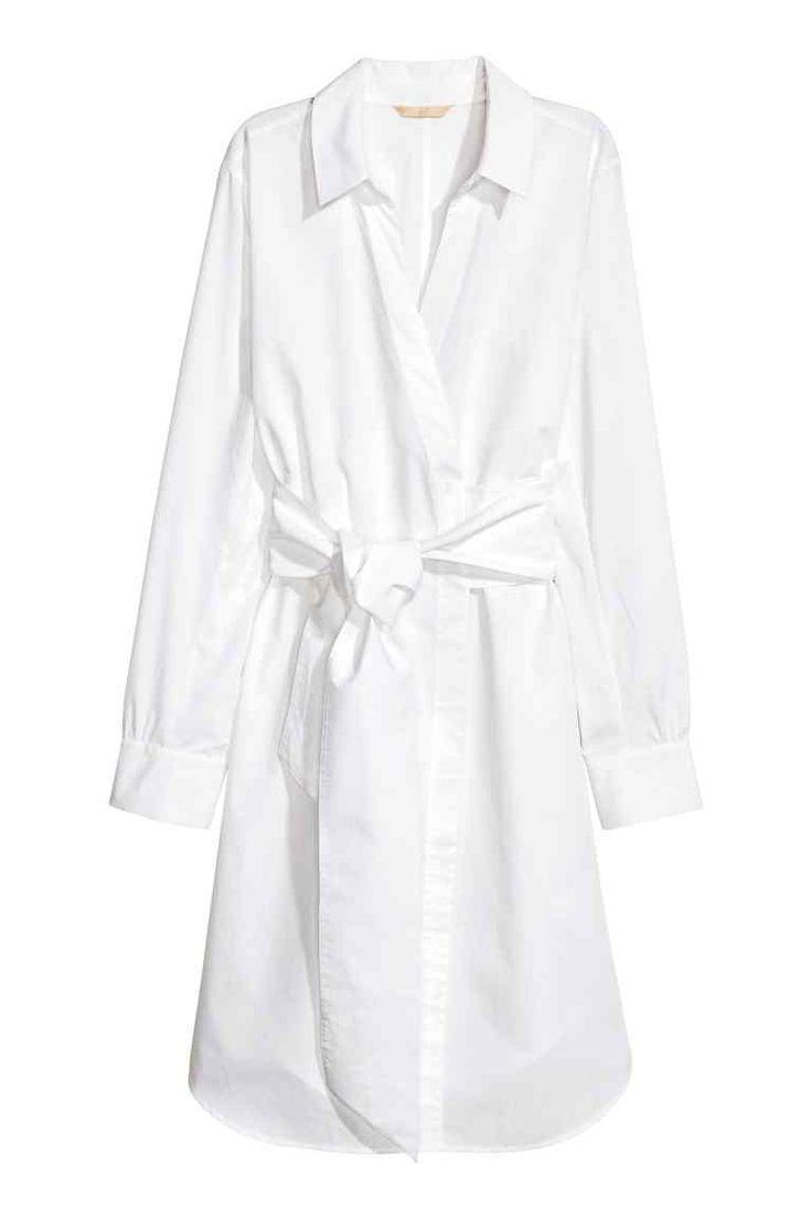 Vestido traçado em algodão - Branco - SENHORA | H&M PT
