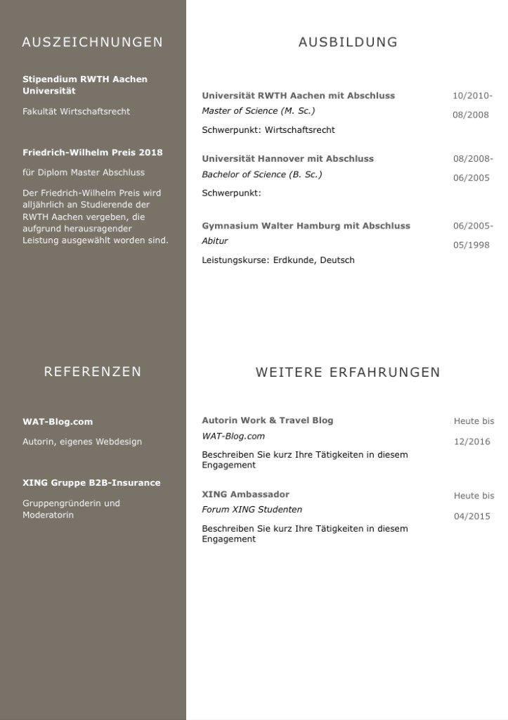 Cv Lebenslaufvorlage Mit Viel Platz Fur Ausbildung Highlights 6 Seiten Unterstutzt Europaischen Referenzrahmen F Lebenslauf Berufserfahrung Cv Lebenslauf