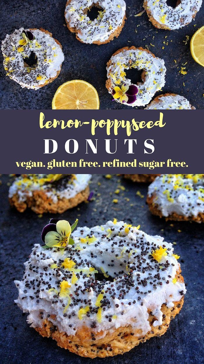 lemon poppyseed vegan donuts. gluten free, refined sugar free, dairy free, egg free. from viedelavegan.com