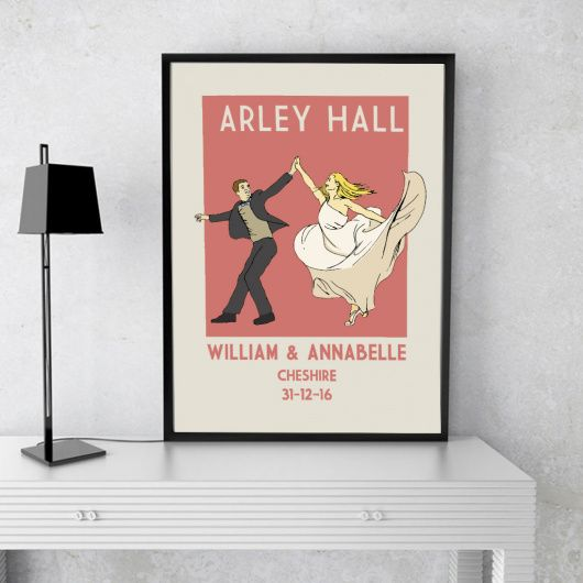 Wedding A4 Vintage Print.    Truly stunning print to remember a first dance.    This beautiful retro style wedding print can be personalised to add a couples names, date and wedding venue. The hair colour on both the man and woman can be changed and a choice of print colours is available.
