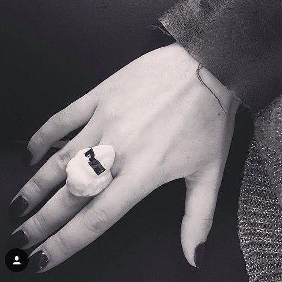 feminist porcelain jewelry white porcelain ring by SHporcelain