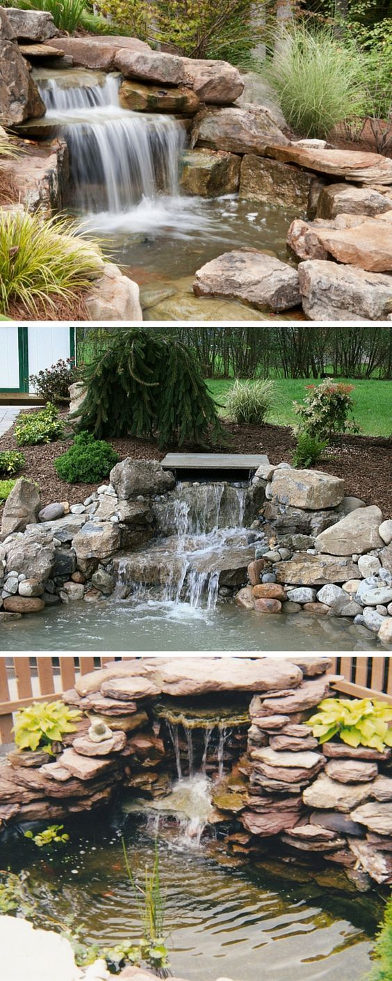 921 best Backyard waterfalls and streams images on ... on Small Pond Waterfall Ideas id=71063