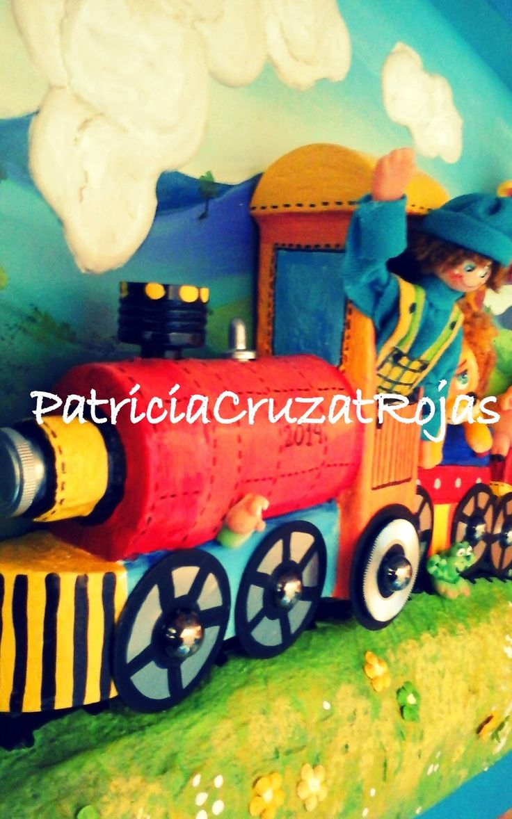 Patricia Cruzat Artesania y Color: Tren con Animales, cuadro en relieve a todo color!