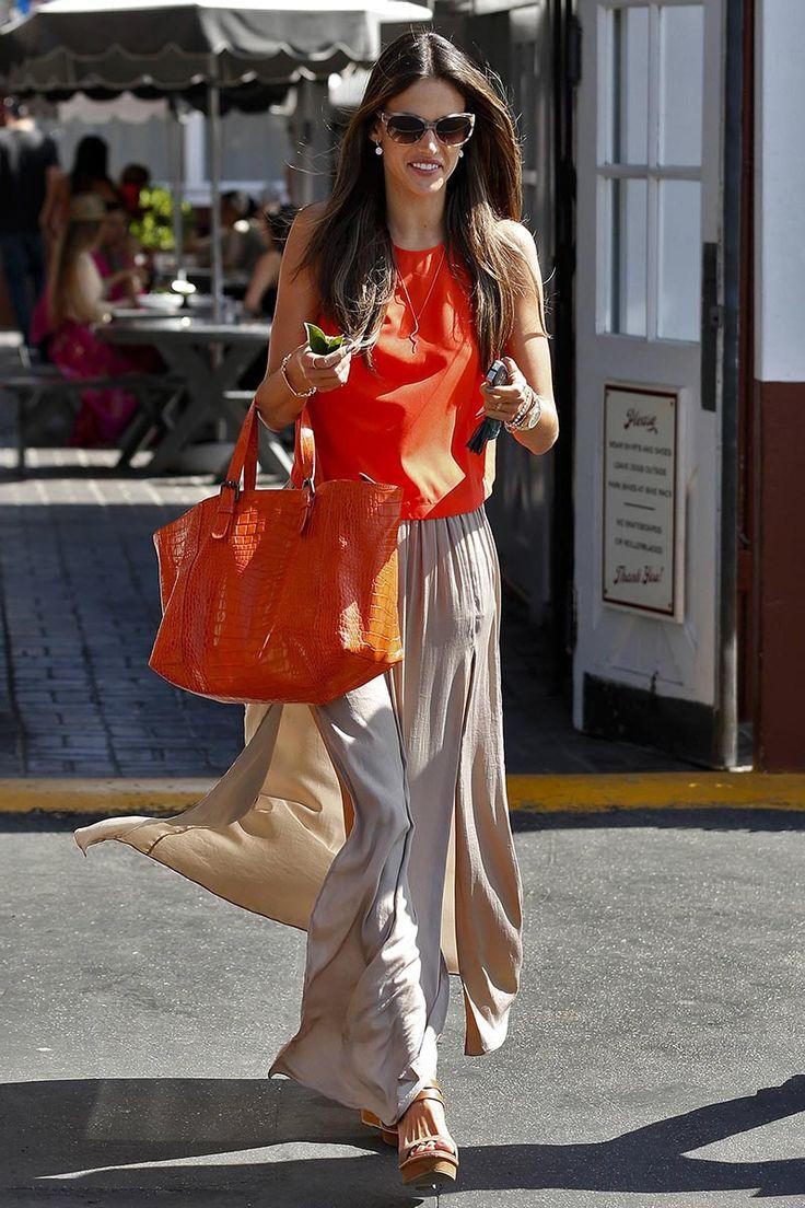 Orange Blouse. Beige Skirt. Long Skirts! Alessandra Ambrossio