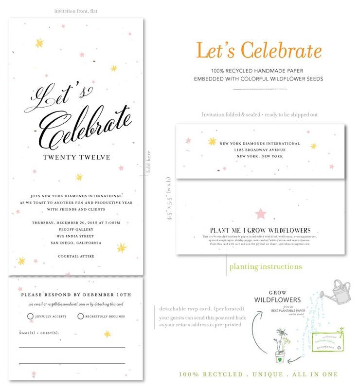 Holiday Party business Invitations.  Vibrant invitations, to invite your clients & friends to celebrate.  Printed on 100% recycled, seeded paper which blooms into wildflowers (once planted). Featured in yellow butter on white seeded paper. Custom color(s) welcomed.