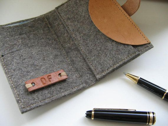 Minimalist  Wool felt wallet - grey-pocket size -monogrammed leather tag -coin wallet- great gift for men on Etsy, $29.00
