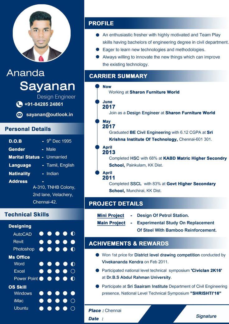 Professional CV for fresher Curriculum vitae resume Resume for Civil engineer freshers Designer