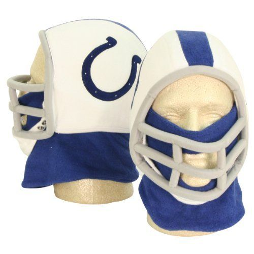 """Indianapolis Colts Football Helmet Winter Knit Hat (With Removable Neck Gaiter) by NFL. $6.98. Stay ultra warm with the removable neck gaiter OR remove it and use the chin strap only for tha classic football helmet look. Great for cold days at football games, costumes, and gifts. 100% acrylic. One size fits most ages 6 - 60 (fits a bit tighter on adults). Make a serious statement on those cold winter days with this fun """"helmet"""" winter knit hat. Looks just like a footba..."""