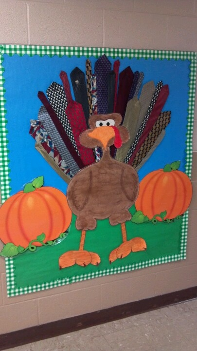 Classroom Ideas For Preschoolers ~ Turkey bulletin board feathers made of neck ties
