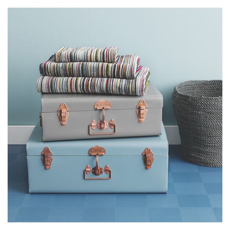 TRUNK Blue Metal Storage Trunk   For Use With Smaller Grey One On Top As  Side Table Next To Sofa Bed Plus Storage Of Spare Cushions Etc