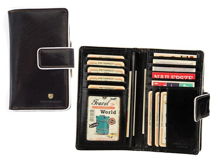 Czarny damski portfel skórzany Peterson 447-2-2-1 - 139zł