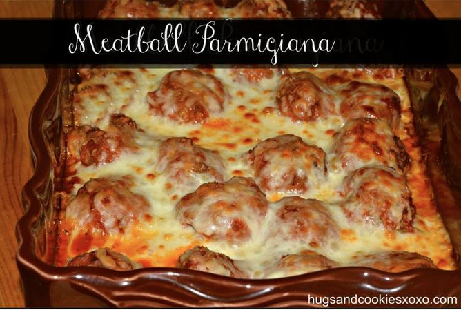 Yummy Meatball Parmesan Casserole!  This is the perfect family dinner dish!