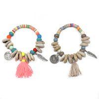 2017 Nova Boho Jóias Europeia pulseiras artesanais shell charm bracelet com moeda silk tassel charme Strand Pulseira