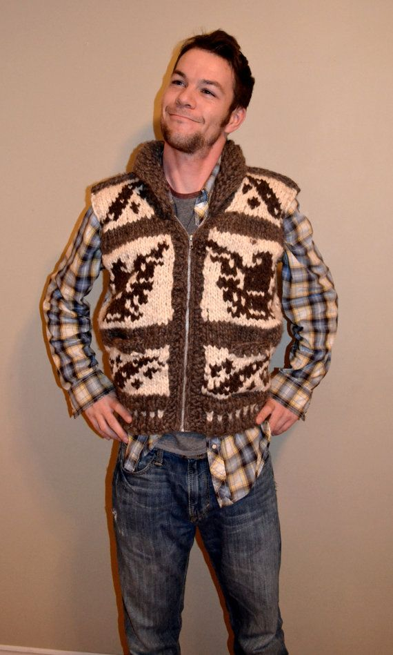 Cowichan Indian Knitted Vest by FaceofNative on Etsy