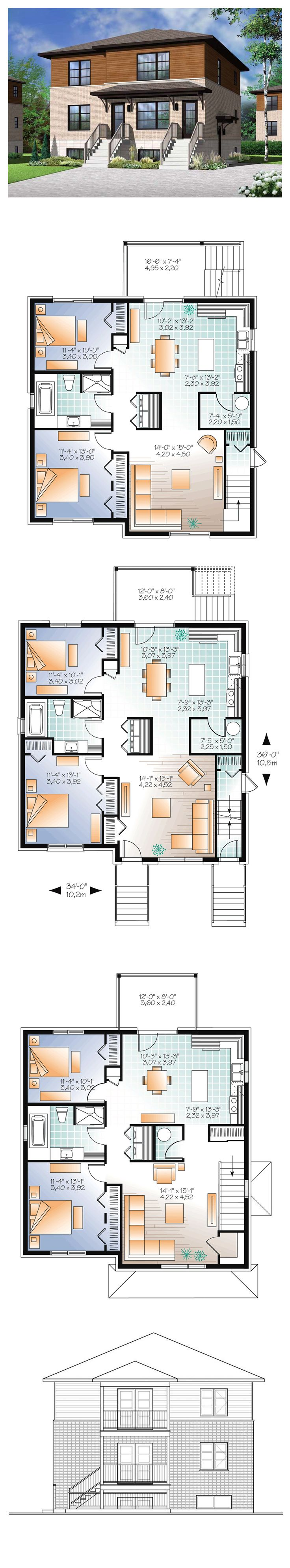 1000 images about duplex apartment plans on for 4 unit multi family house plans
