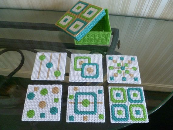 Retro Style Coasters Set of 6 Teal Green & by CarolsAtticCrafts, $9.99
