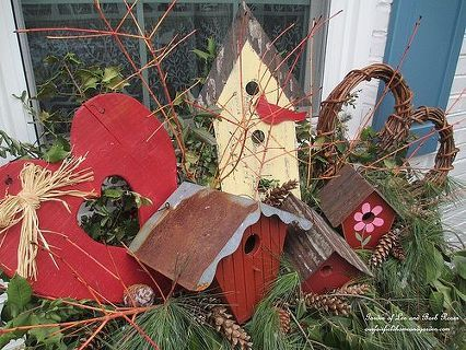valentine s day windowboxes with a birdhouse theme, crafts, outdoor living, seasonal holiday decor, valentines day ideas, Valentine s Day Windowboxes