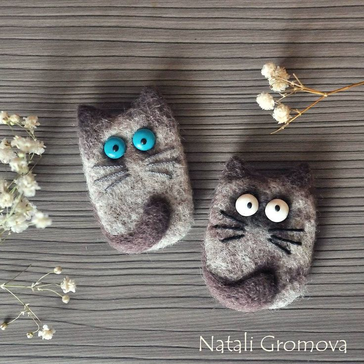 Cute Needle felted project wool animal cats (Via @natali.gromova)