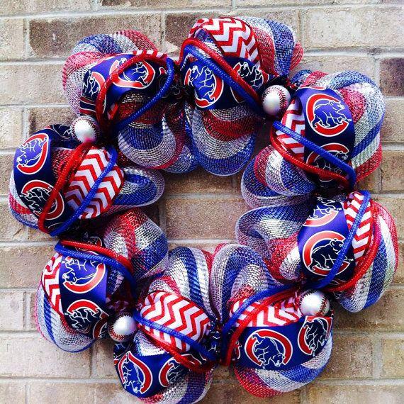Chicago Cubs Wreath/MLB Wreath/ Baseball Wreath/ Red by MHWreaths