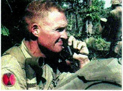 Left: Lt Col Hal Moore at the Battalion command post in LZ Xray on 15 Nov 65…