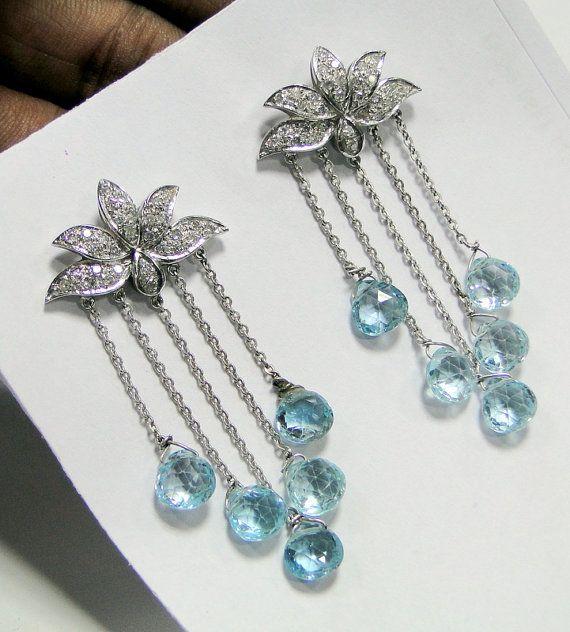 18 ct white gold Aquamarine Diamonds earrings pair by Amrapali, $2599.00