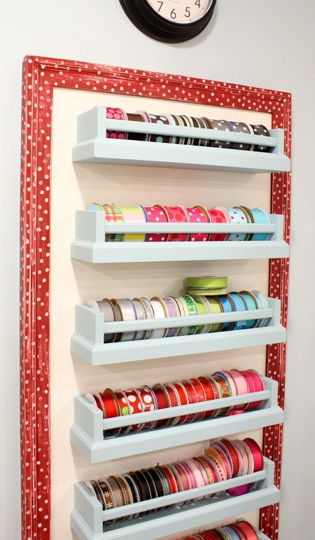 """Ribbon Storage-was searching Pinterest for ribbon storage ideas when I found this one.  Showed it to my husband and asked him if he could make me something similar.  A few hours later I have two 30"""" ribbon shelves!"""