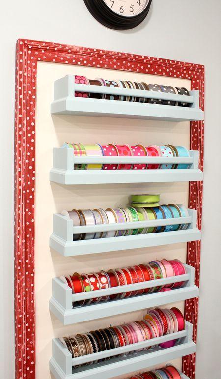 Ribbon Storage  Ikea spice racks?