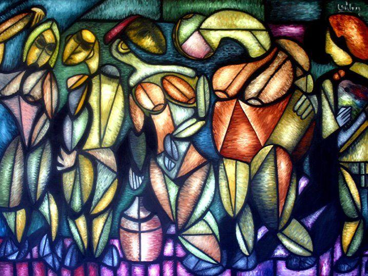 LA REUNION Oleo sobre lienzo Eduardo Galvis Cali-Colombia