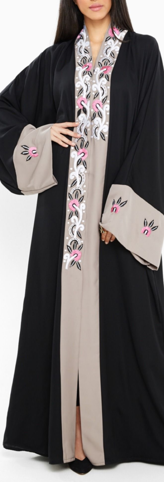 Malaikah Embroidered Open Abaya