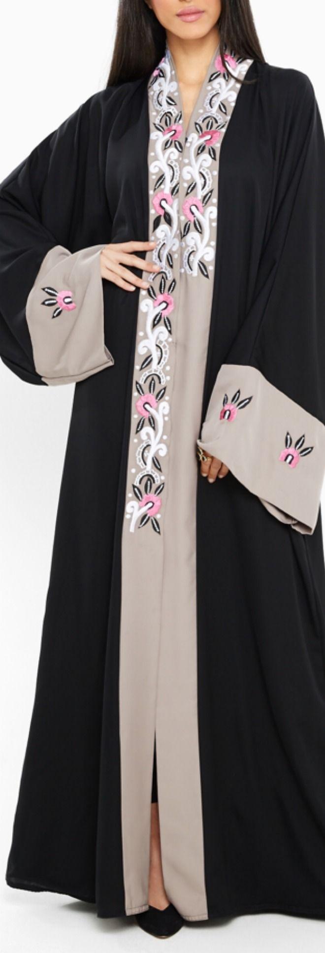 Malaikah Embroidered Open Abaya