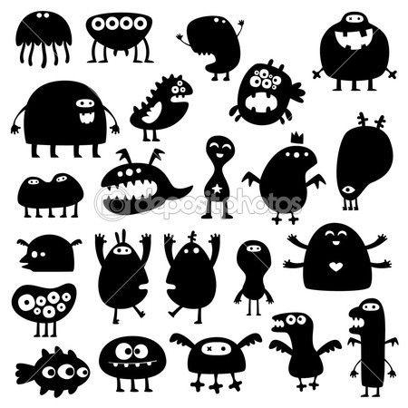 Sammlung von cartoons lustige monster silhouetten